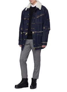 Alexander McQueen Lambskin shearling collar detachable hem raw denim jacket
