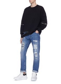 Alexander McQueen Paisley jacquard zip gusset sweatshirt