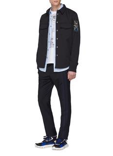 Valentino Stripe trim wool-mohair jogging pants