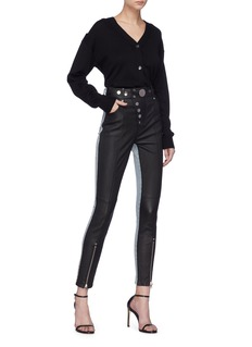 Alexander Wang  Colourblock denim panel leather hybrid leggings