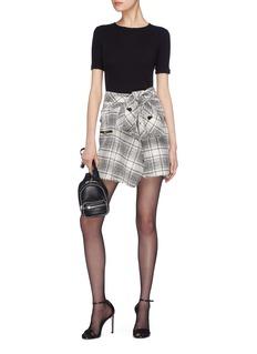Alexander Wang  Sleeve tie check plaid tweed skirt