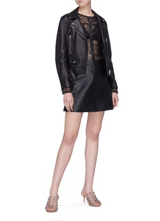 Alexander Wang  Leather placket Chantilly lace shirt