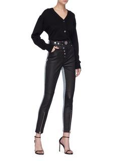 Alexander Wang  Colourblock denim panel hybrid leather leggings