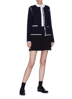 Thom Browne Detachable sleeve wool blend knit cardigan