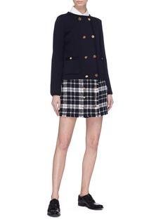 Thom Browne Button front frayed tartan plaid tweed mini skirt