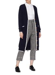 Thom Browne Belted stripe border brushed wool long cardigan