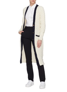 Thom Browne Belted contrast border cable knit long cardigan