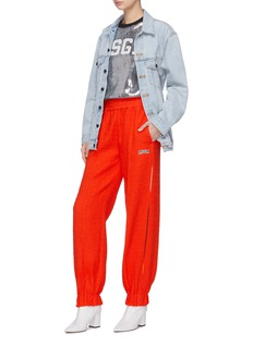 MSGM Stripe outseam logo embroidered tweed track pants
