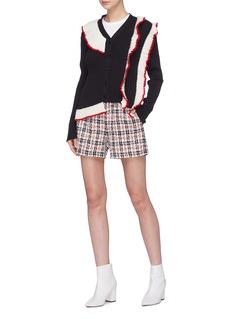 MSGM Ruffle trim rib knit cardigan