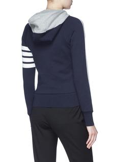 Thom Browne Stripe sleeve colourblock knit zip hoodie