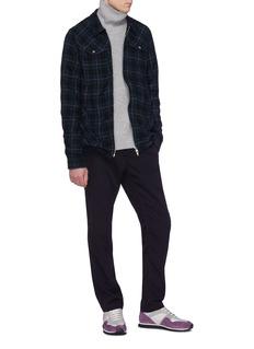 Johnundercover Metallic stripe tartan plaid herringbone shirt jacket