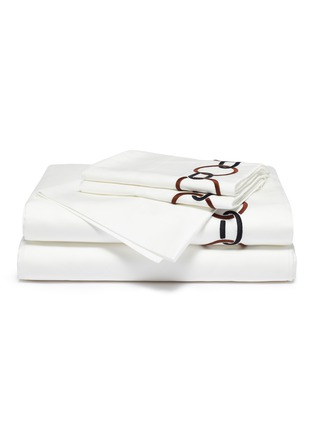 Main View - Click To Enlarge - FRETTE - Links king size duvet set – Chestnut/Black