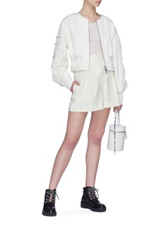 3.1 Phillip Lim Bow pleated panel sleeve cropped bomber jacket