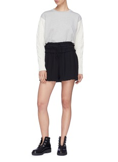3.1 Phillip Lim Ruffle plissé pleated crepe shorts
