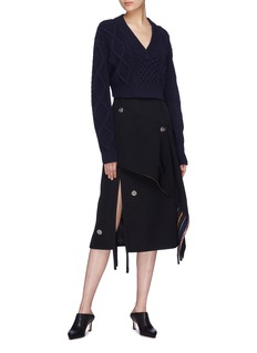 3.1 Phillip Lim Reversible graphic print drape panel button wool skirt