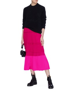 3.1 Phillip Lim Ruffle plissé pleated colourblock hem crepe dress