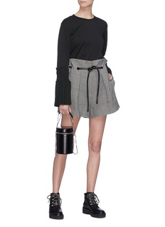 3.1 Phillip Lim Belted houndstooth check plaid paperbag shorts