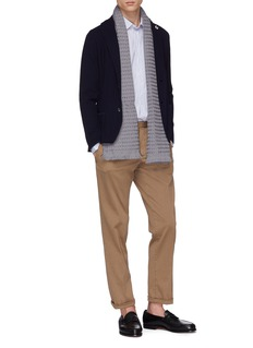 Lardini Notched lapel wool herringbone knit jacket
