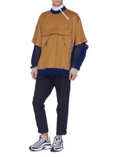Digawel Detachable patchwork sleeve wool melton sweatshirt