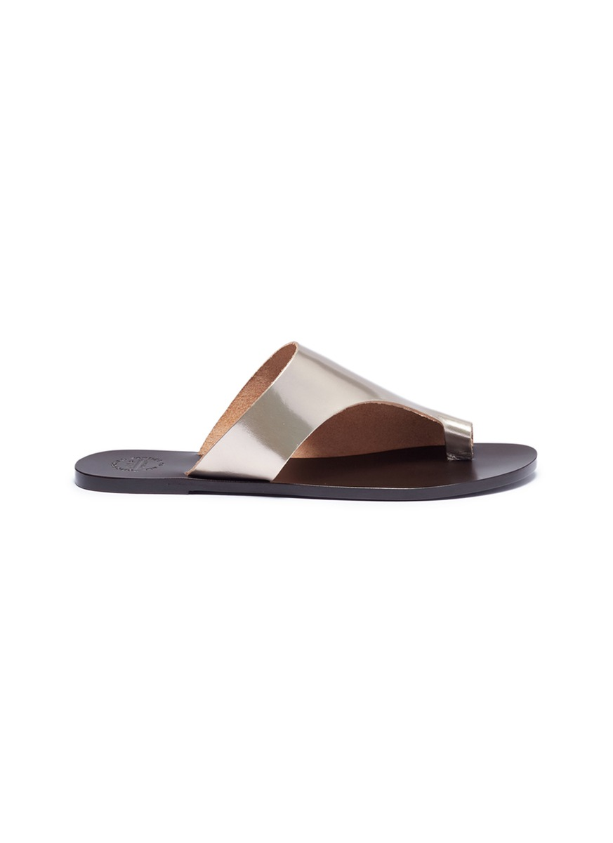 Rosa metallic leather slide sandals by ATP Atelier