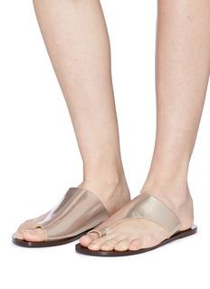 ATP Atelier 'Rosa' metallic leather slide sandals