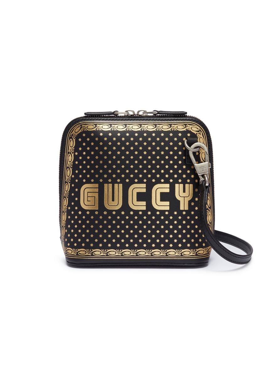 3110167751c Gucci.  Guccy  logo print mini leather crossbody bag