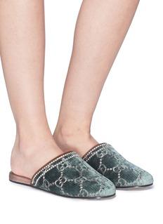 Gucci GG logo embroidered velvet slippers