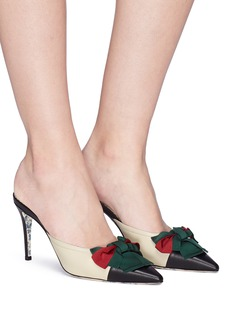 Gucci Web bow leather mules