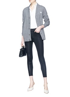 L'Agence 'Margot' coated cropped skinny jeans