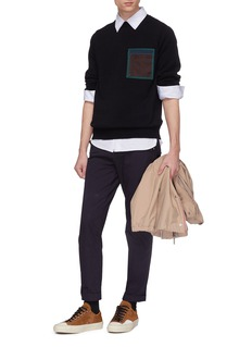 kolor Contrast chest pocket wool sweater