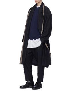 Uma Wang  'Cavan' shawl lapel stripe wrap coat