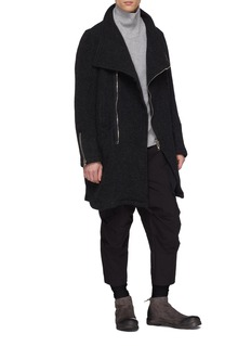 The Viridi-anne Asymmetric zip placket brushed melton coat