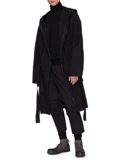 The Viridi-anne Belted hooded pinstripe panel wool-linen coat