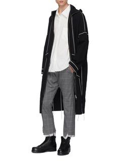 Sulvam Contrast topstitching raw hem hooded coat