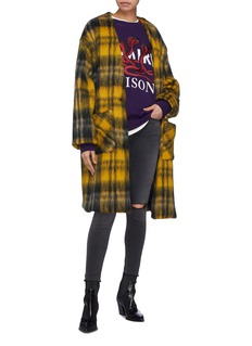 Amiri Check plaid brushed mohair cardigan coat