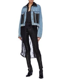 Amiri Leather panel distressed denim trucker jacket