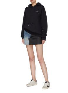 Amiri Leather panel colourblock denim skirt