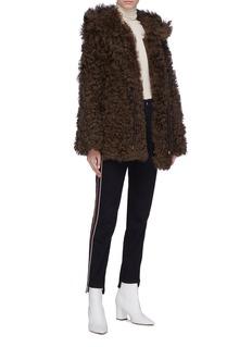 Yves Salomon Lambskin shearling hooded jacket