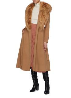 Yves Salomon Detachable fur collar belted melton coat