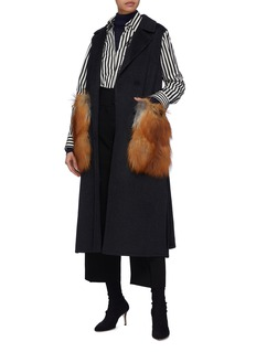 Yves Salomon Belted fox fur pocket long gilet