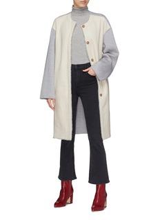 Yves Salomon Reversible melton sleeve lambskin shearling coat