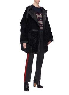 Yves Salomon Leather trim lambskin shearling coat