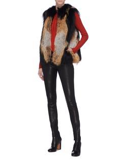 Yves Salomon Colourblock fox fur gilet