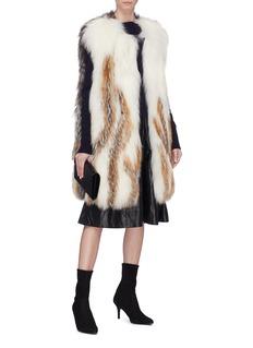 Yves Salomon Colourblock cashmere-wool panel fox fur long gilet