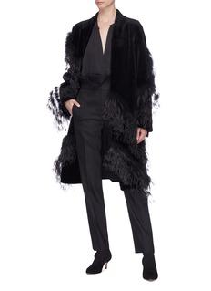 Yves Salomon Ostrich feather fox trim mink fur coat