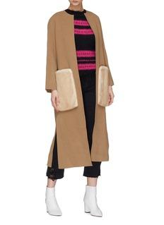 Yves Salomon Belted mink fur pocket wool-cashmere melton coat