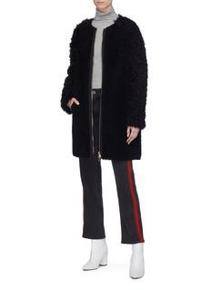Yves Salomon Lamb fur sleeve lambskin shearling coat