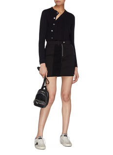 T By Alexander Wang Deconstructed curved placket cardigan top