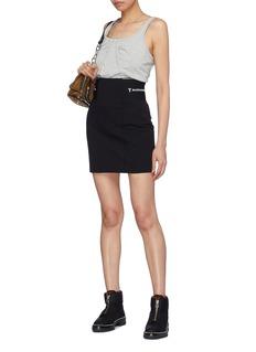 T By Alexander Wang Logo jacquard waistband mini suiting skirt