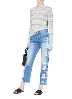 3x1 'W3 Higher Ground' selvedge distressed cropped boyfriend jeans
